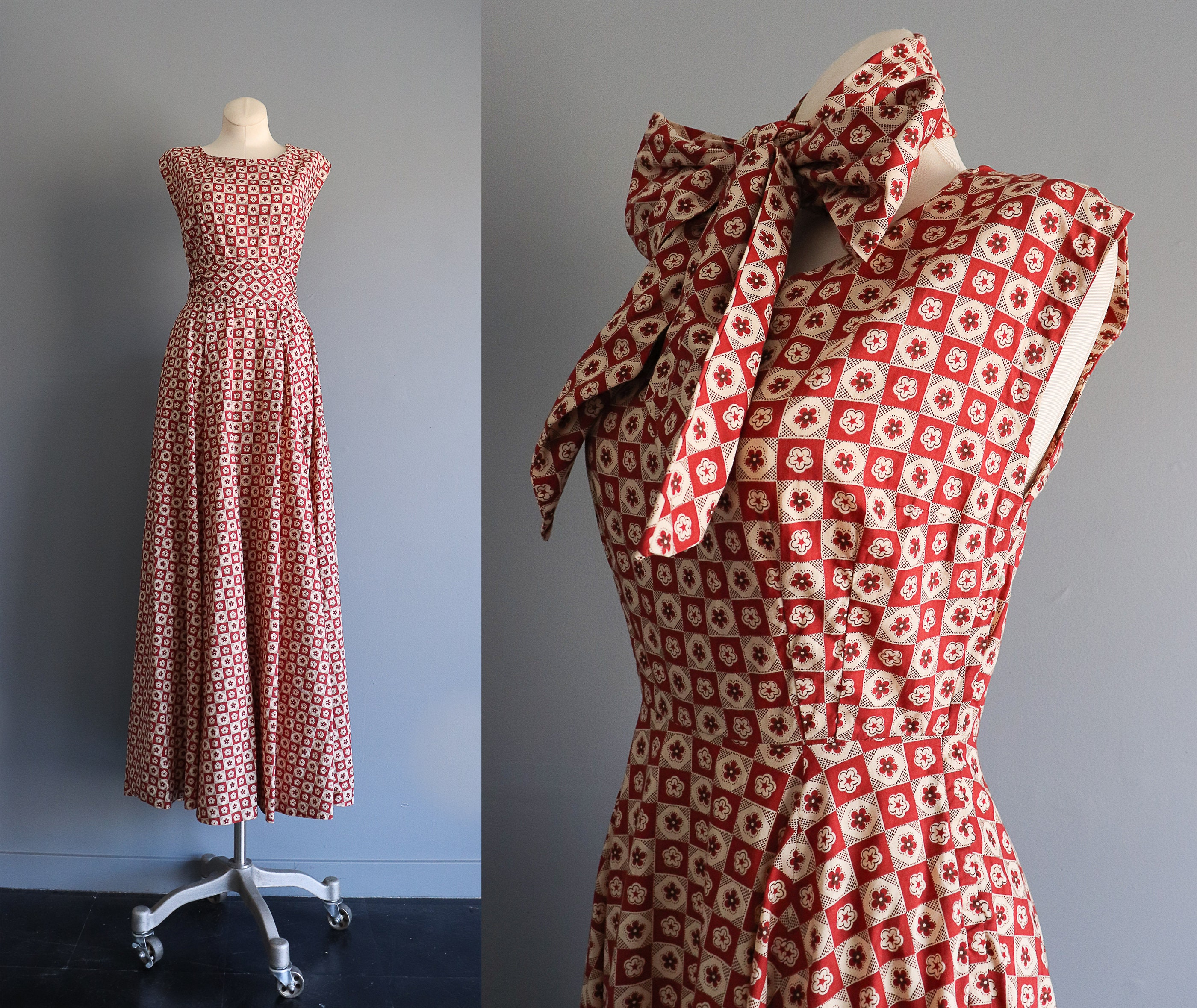 Vintage Scarf Styles -1920s to 1960s 1950S Vintage Brick Red  White Floral Checker Patterned Cotton Maxi Dress With Full Skirt50S Swing Dance Party Size Xs Small $0.00 AT vintagedancer.com