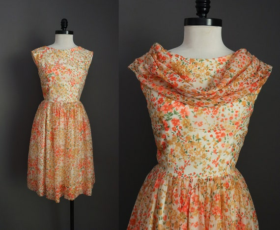 1950s 1960s Orange and Yellow Floral Dress with Ma