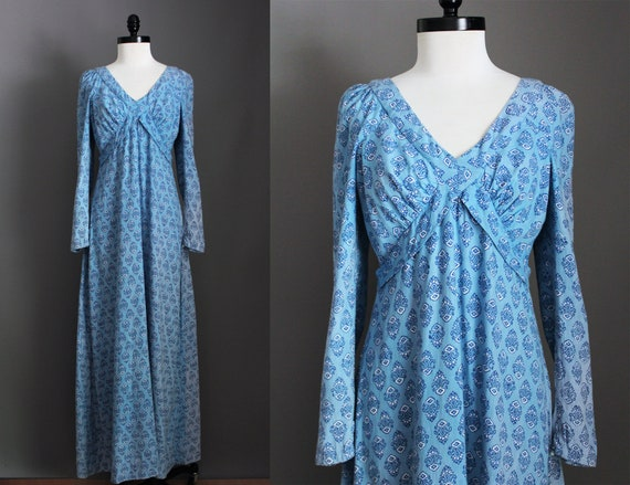 1970s Vintage Blue Hued Indian Cotton Dress / 70s