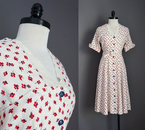 1940s 1950s Vintage Handmade White Cotton Red and