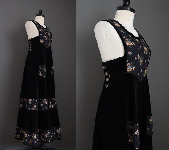 1970s Vintage Rare Anna Belinda Black Velvet Pinaf