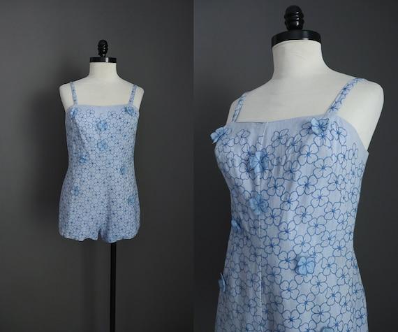 1960s Vintage Tina Leser by GaBar Blue 3D Florals