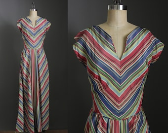 1930s Vintage Rayon Chevron Striped Maxi Dress / 30s Glamorous Evening Cocktail Party Attire Formal Floor Length Gown  / Small S