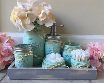 Mason Jar Bathroom Set, Bathroom Decor, Rustic Decor, Bathroom Set, Mason  Jar Bath Set, Bathroom Decor, Rustic Bathroom,Shabby Chic Bathroom