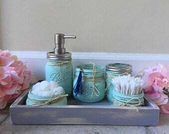 CUSTOM Mason Jar Bathroom Set, Rustic Decor, Bathroom Set, Mason Jar Bath  Set, Bathroom Decor, Rustic Bathroom,Shabby Chic Bathroom