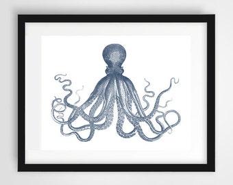 Navy Octopus Art, Octopus Poster, Octopus Wall Art