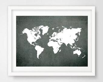 Blackboard world map etsy chalkboard art world map poster printable wall art decor gumiabroncs Image collections