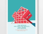 Charles Ray Eames quote poster, mid-century modern wall art, instant download