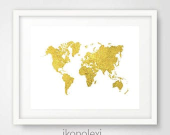 Gold world map etsy gold world map gold map of the world gold world map poster printable map world map large world map world map decor gold wall art gumiabroncs Choice Image