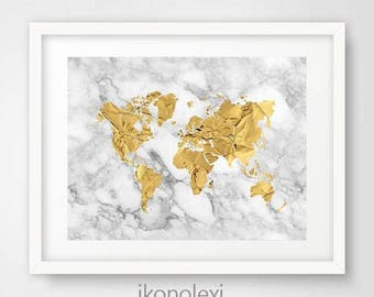 Gold world map etsy gold world map poster gold world map art gold world map print gold map world download world map gold gold marble housewarming gift gumiabroncs Gallery