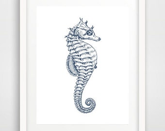 Beach wall art, navy seahorse, printable, seahorse, seahorse wall art, seahorse print, seahorse poster, nautical decor, bathroom wall art
