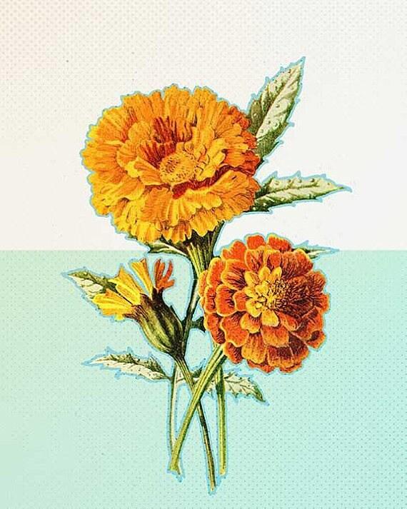 Mid century modern art marigold flowers art yellow flowers etsy 50 mightylinksfo