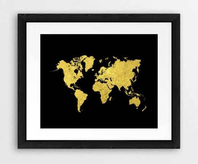 Black and gold world map art print world map wall art etsy image 0 gumiabroncs Choice Image