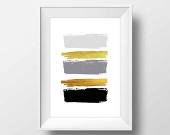 Black and gold brush strokes, wall print, minimalist art, brush strokes, simple prints, apartment decor, abstract art, brush stroke print