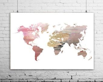 70cm x 50cm world map, large world map art, pink world map poster, pink world map print, world map decor, modern map wall art
