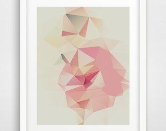 Abstract wall art, pink triangles art, poster, geometric art, contemporary art, triangles print, home decor, kids wall art, affiche enfant,