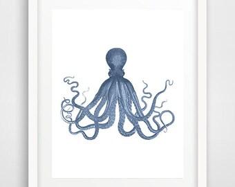 Navy Octopus Print, Octopus Wall Art, Octopus Poster