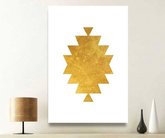 Gold wall art aztec art modern wall print mexican art