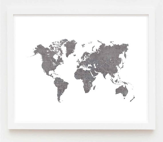 Printable Best World Map Poster Wall Art Gray Texture Etsy