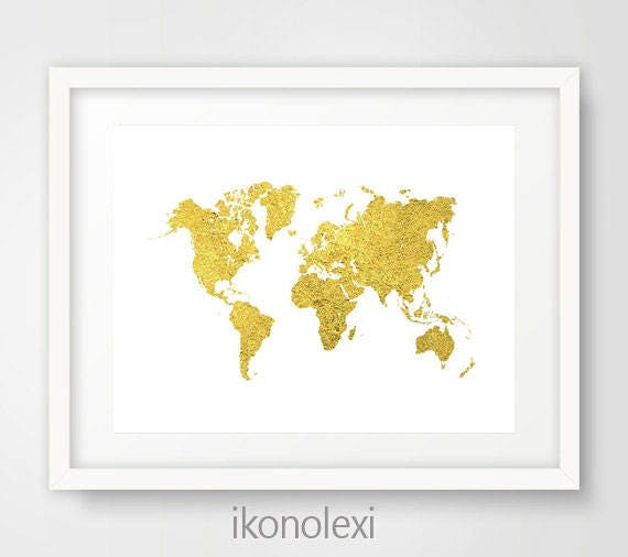 Gold world map gold map of the world gold world map poster etsy image 0 gumiabroncs Gallery