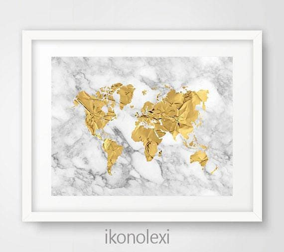 photo regarding Silhouette Printable Gold Foil titled White and gold world wide map printable artwork, map silhouette, gold foil