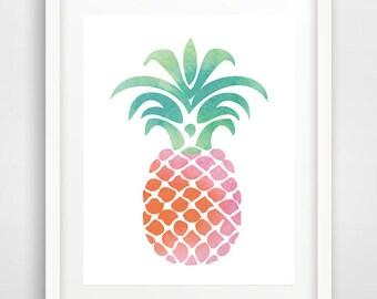 Pineapple poster, pineapple wall print, pink pineapple print, pineapple art, pineapple decor, tropical decor, Scandinavian art