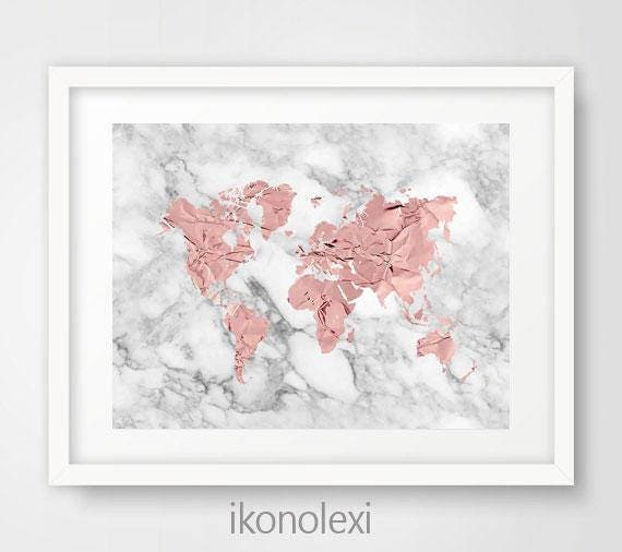 Gold World Map Poster.Rose Gold World Map Poster Print Wall Decor Printable Art Etsy