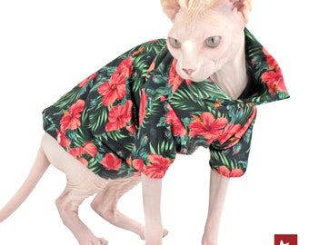 Hawaiien Shirt for Cat Sphynx | Cat clothes, Sphynx Cat clothing | Hibiscus and Green Color | Polocats