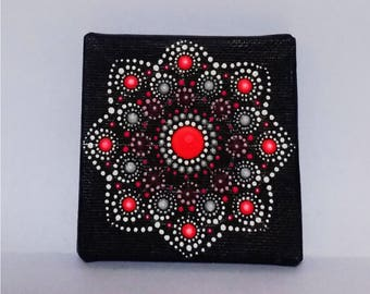 Original hand painted dotmandala on 7x7 cm canvas