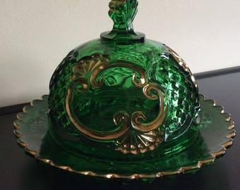 Rare Eapg Riverside Empress Green Croesus Butter Dish