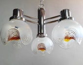 Space Age Mazzega chrome steel 70s Vintage Italian 3 lights chandelier. Clear milky and amber Murano art glass bowls. Mid century modern.