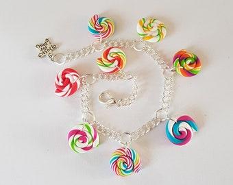 gourmet bracelet candy fimo lolipop, gourmet jewel, candy bracelet, lolipop bracelet, candy jewelry, fimo bracelet, gourmet gift, fimo