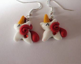 Red and white Unicorn horse polymer clay earrings riding little pony