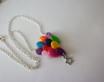 Necklace puffed tone multicolored 'fly me' balloon