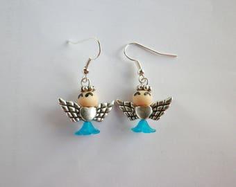 Angel earrings happy smiling unusual turquoise blue