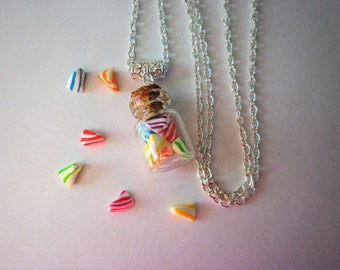 vial necklace white cherry candy and multicolored gourmet gem