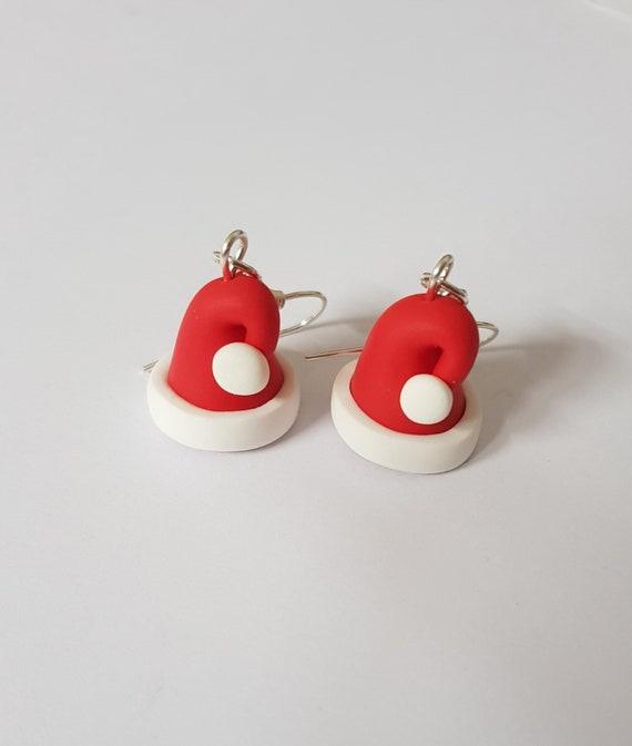 bonnet du pere noel boucles d oreille paire rouge blanc etsy. Black Bedroom Furniture Sets. Home Design Ideas