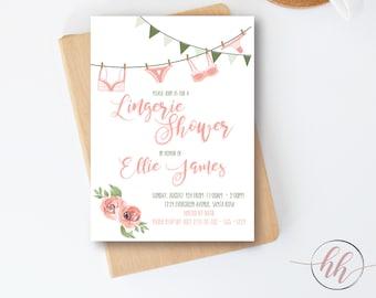 lingerie party invitation bridal shower wedding shower invitation bachelorette invite printable cheap