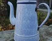 Vintage Enamel coffee pot, Blue mottled Enamel Coffee Pot, 1920 39 s coffee pot, Belgium Kitchen decor, Vintage Enamel pot, French decor