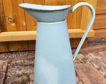 enamel French vintage pale green enamel jug / French Vintage Enamel Pitcher / French Cuisine  / Vintage Enamel jug / Enamel Broc / Vase