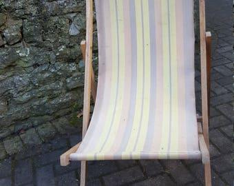 Vintage Deck chair / Garden Chair / Deckchair / Stripped Deckchair / Canvas Deckchair / Retro Deckchair / Folding Deck chair / Canvas