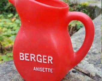 Vintage French Red Jug / Plastic Berger Jug / Anisette plastic water pitcher / Bistro jug / Retro bistro jug / Berger Jug / French pitcher
