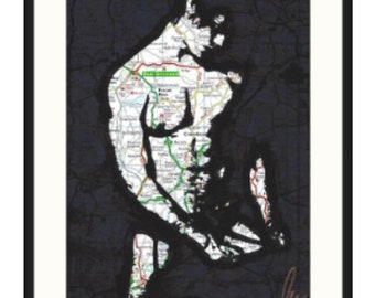 Original hand drawn hunky twink in stockings and suspenders by gay London artist NLMKART