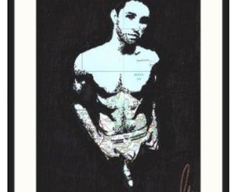 Original hand drawn hot muscled sexy jock dick out naked gay guy, by london artist NLMKART