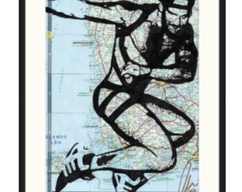Original hot gay muscled sports boy naked, in straps, cap and trainers. Jock by london artist NLMKART