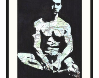 Original hand drawn hot muscled sexy naked gay guy, by london artist NLMKART