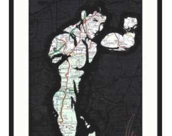 Original hand drawn muscled Asian boy with thick dick by gay London artist NLMKART