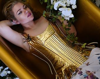 Historical pattern overbust corset from gold PVC. Steelbone custom made corset, fashion, renaissance, gothic, steampunk, bespoke, victorian