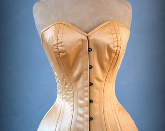 41f1abbef4 Luxury made to measures overbust authentic corset with long hip-line.  Steel-boned corset for tight lacing