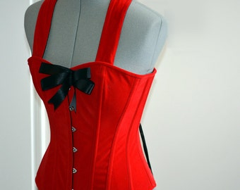 910d66017f0 Cute pinup red microfibra (fake suede) custom made corset with bow. Steel-boned  overbust corset top for tight lacing with strap around neck.
